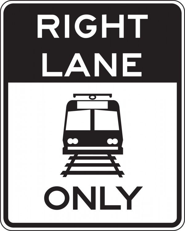 _____ LANE ONLY (TRAM / TRAIN SYMBOL)