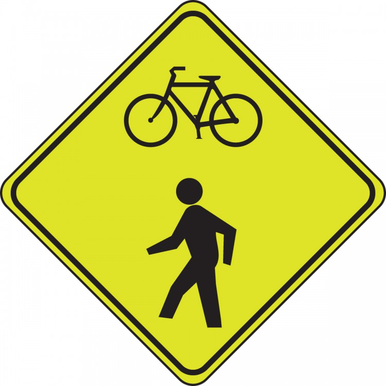 (BICYCLE AND PED WARNING)