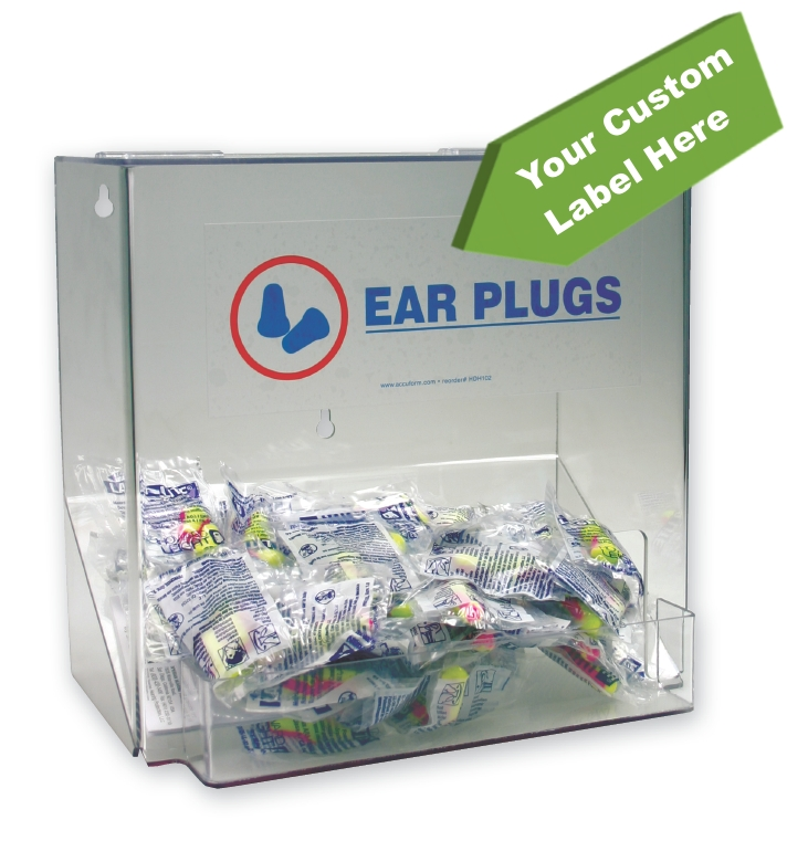 Large Ear Plug Dispenser w/ Custom Label