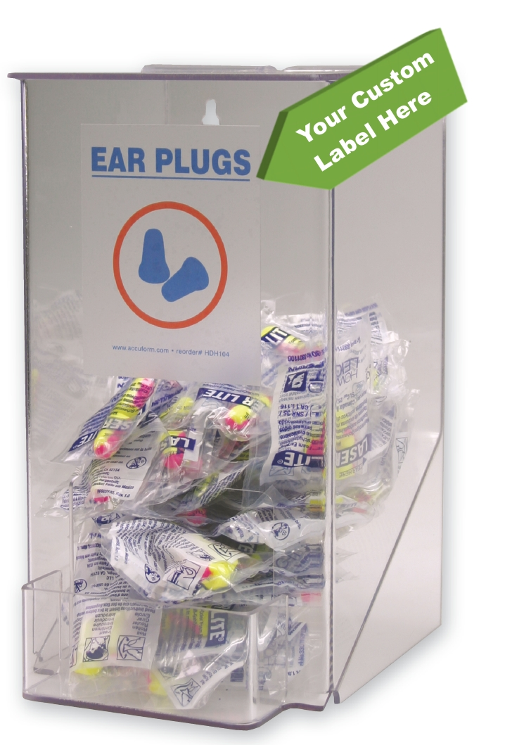 Small Ear Plug Dispenser w/ Custom Label