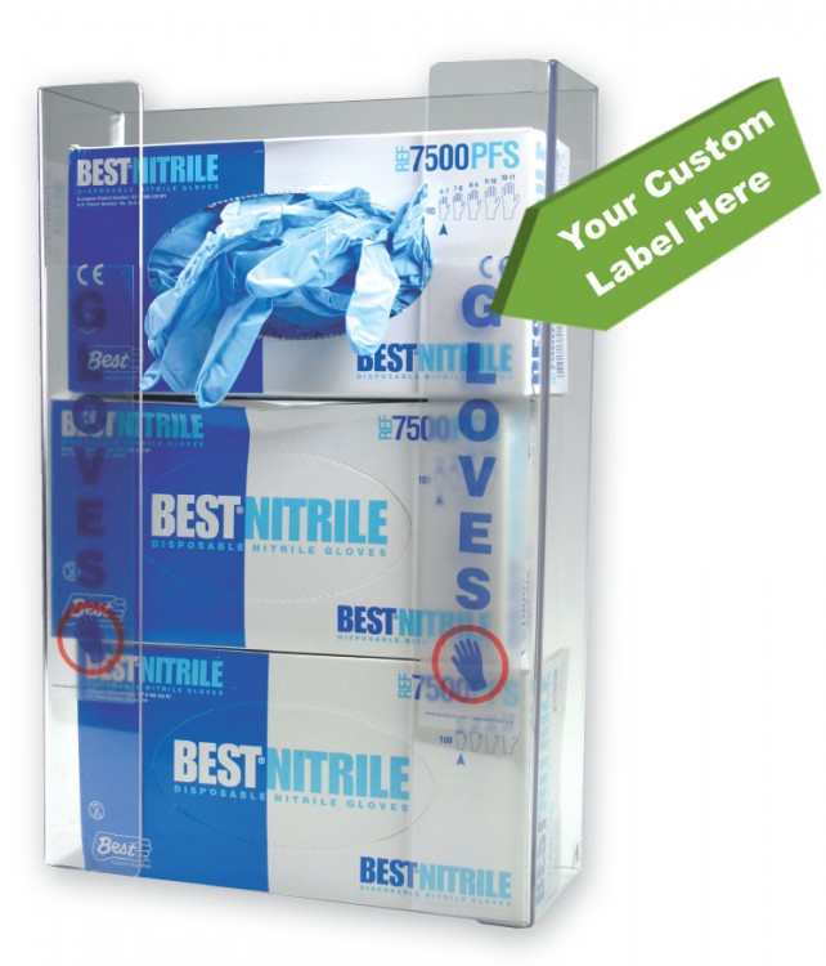 Triple Box Glove Dispenser w/ Custom Label