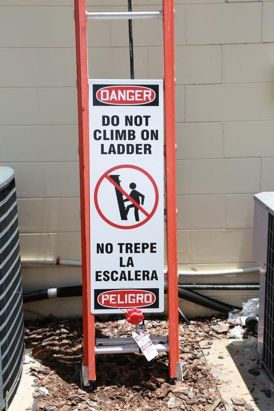 Bilingual Ladder Shield™ OSHA Danger Wrap: Do Not Climb On Ladder
