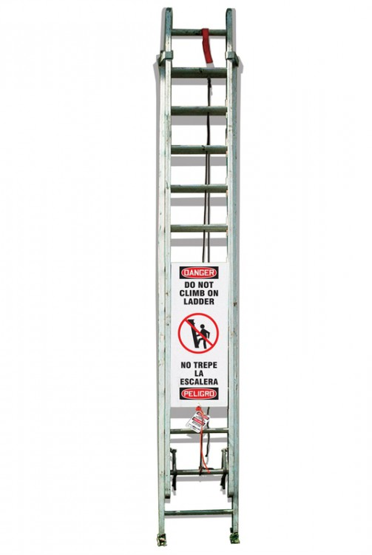 Bilingual OSHA Danger Ladder Shield Kit: Do Not Climb On Ladder