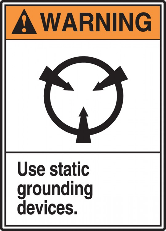 USE STATIC GROUNDING DEVICE (W/GRAPHIC)