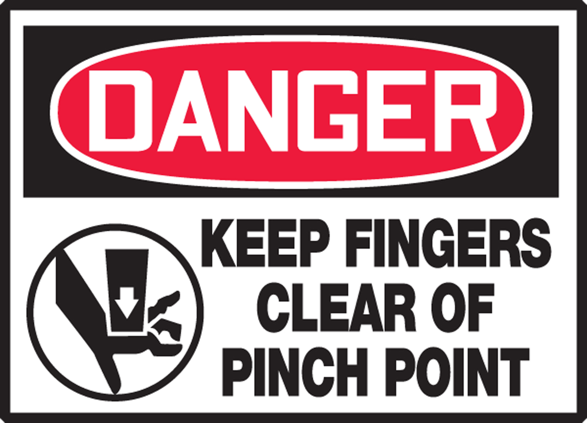 KEEP FINGERS CLEAR OF PINCH POINT (W/GRAPHIC)