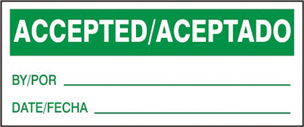 Spanish Bilingual Safety Label: Accepted/Aceptado