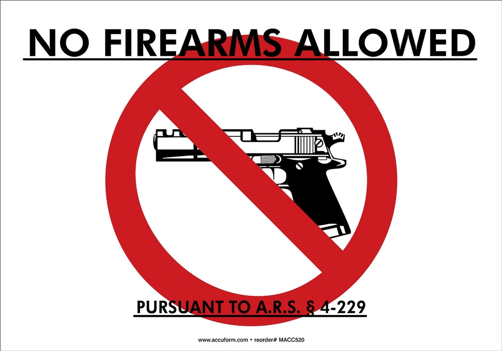 Arizona no firearms allowed signs with gun and statute