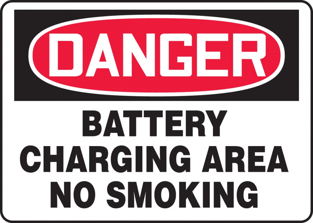 OSHA Danger Safety Sign: Battery Chargin... - Battery Charging ...