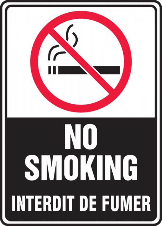 French Bilingual Smoking Control Sign No Smoking Interdit De Fumer