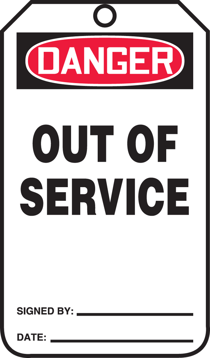 DANGER OUT OF SERVICE<BR><BR> PELIGRO FUERA DE SERVICIO (SPANISH)