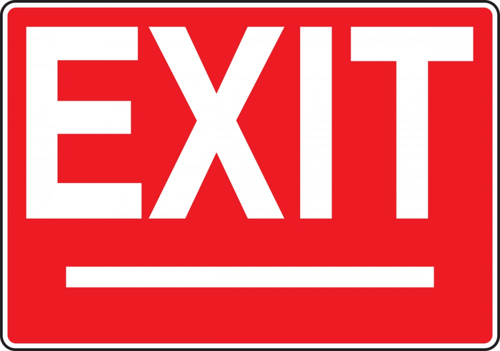 EXIT (WHITE ON RED)