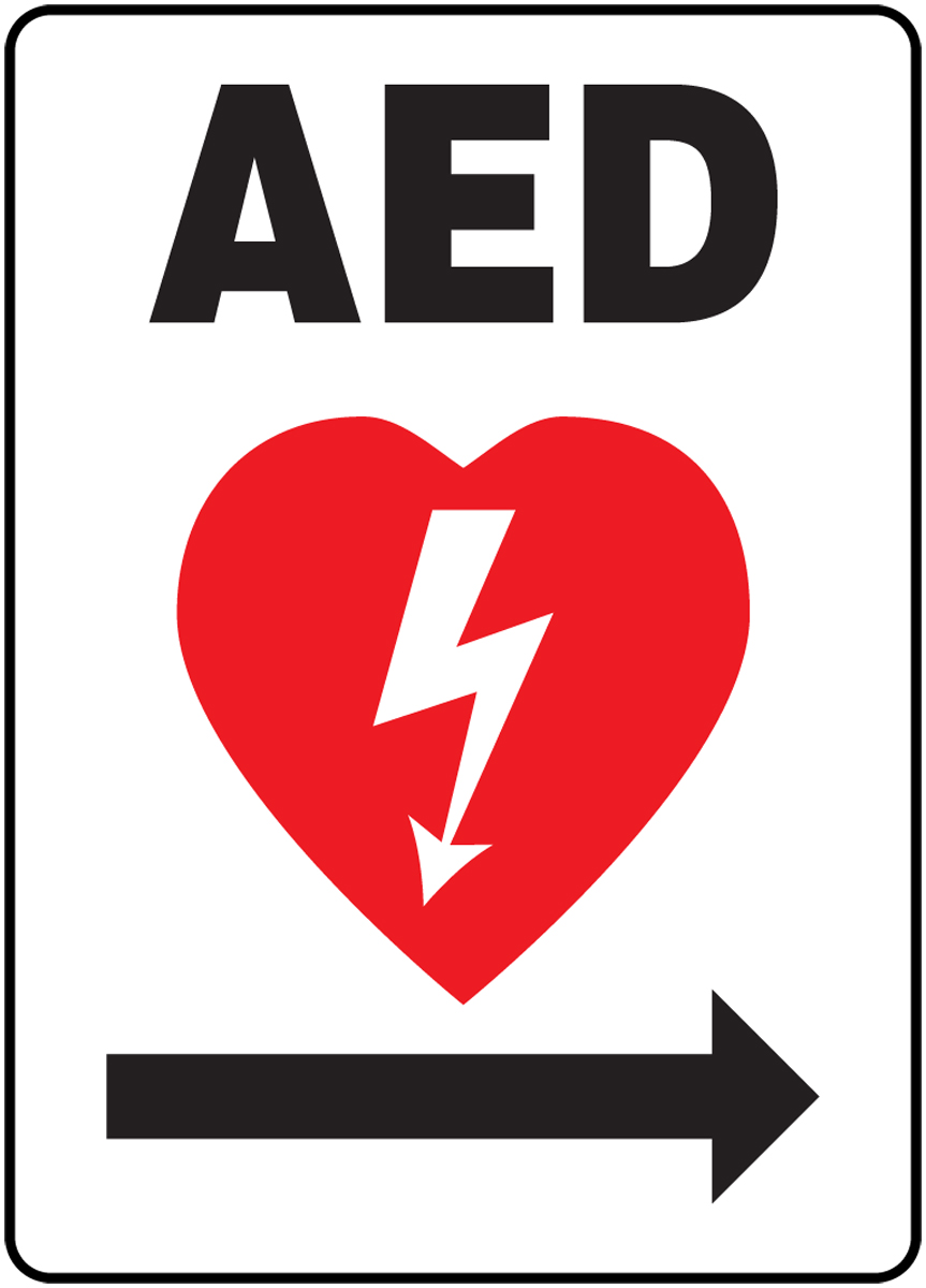 AED ---> (RIGHT ARROW) (W/GRAPHIC)