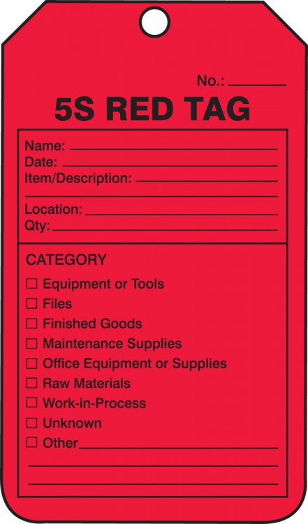 5S Tags - RED TAG