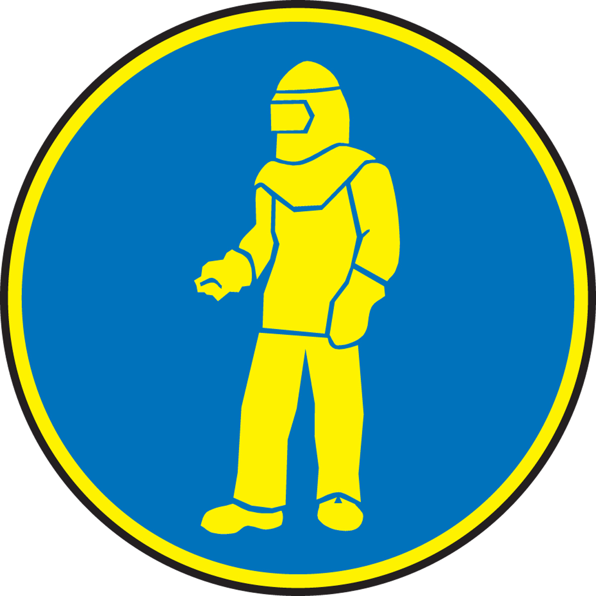 WEAR FULL PROTECTIVE CLOTHING (YELLOW/BLUE)