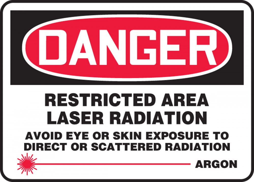 RESTRICTED AREA LASER RADIATION AVOID EYE OR SKIN EXPOSURE TO DIRECT OR SCATTERED RADIATION ARGON (W/GRAPHIC)