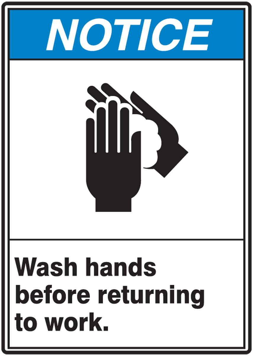 WASH HANDS BEFORE RETURNING TO WORK (W/GRAPHIC)
