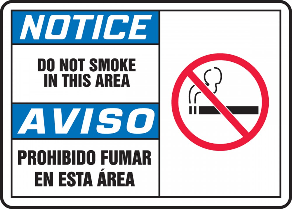DO NOT SMOKE IN THIS AREA (W/GRAPHIC) (BILINGUAL)