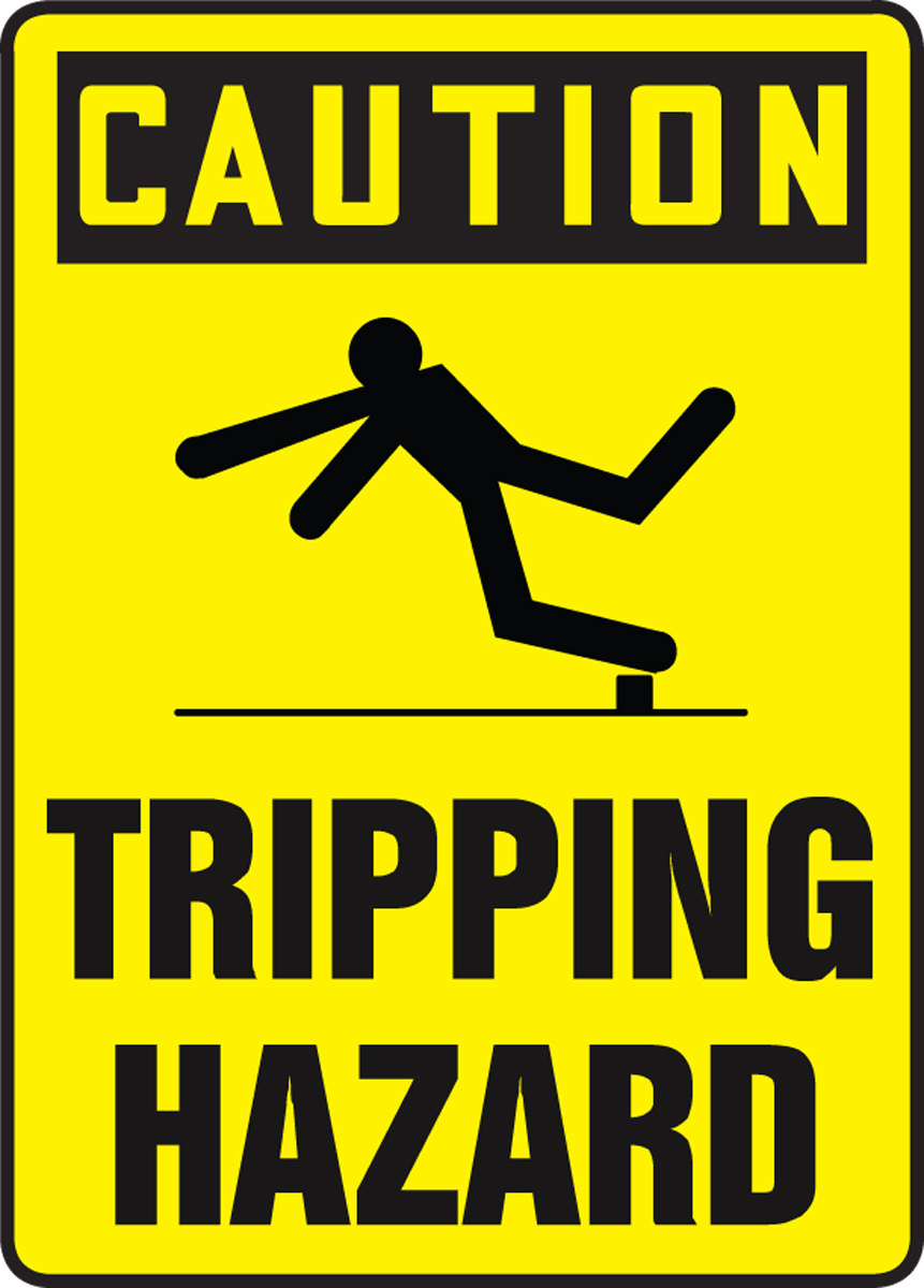 CAUTION TRIPPING HAZARD W/GRAPHIC
