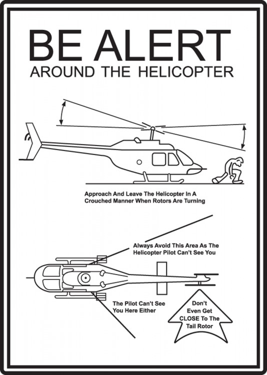 BE ALERT AROUND THE HELICOPTER...