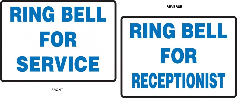 Tabletop Safety Sign: Ring Bell For Service
