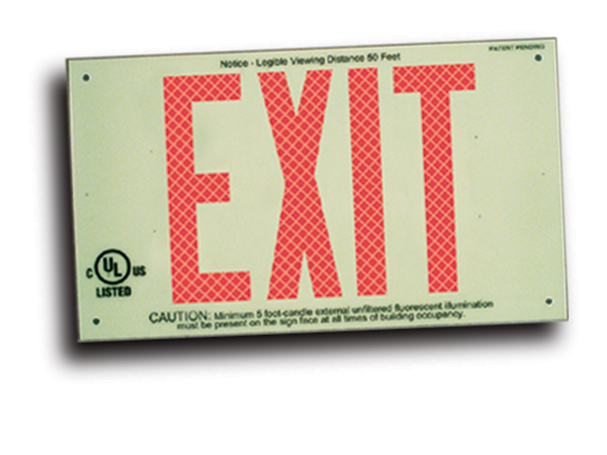 ULTRA-GLOW™ EXIT SIGNS - ONE-DIMENSIONAL PLATE STYLE