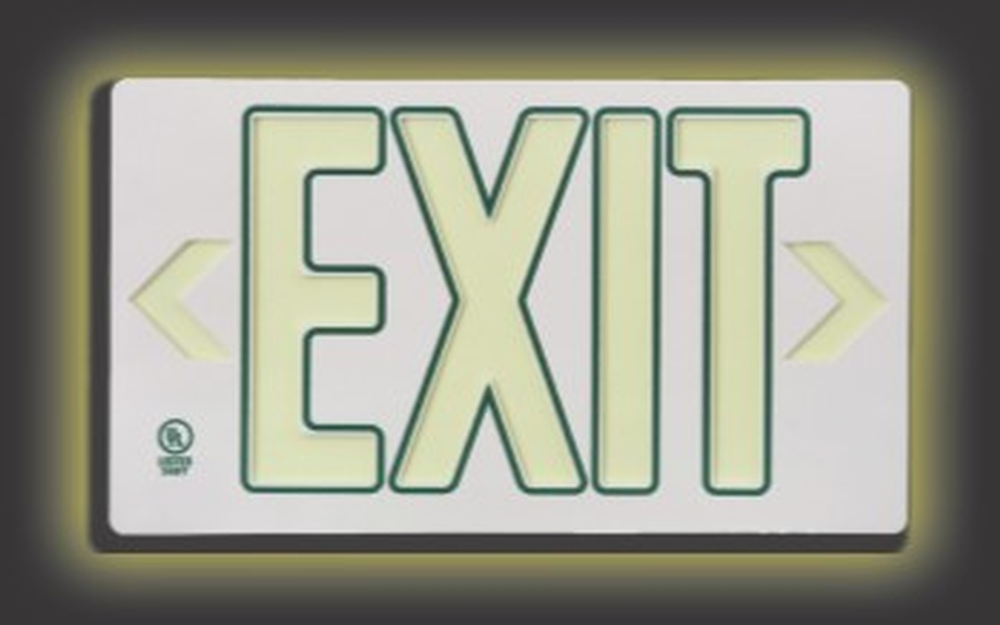 ULTRA-GLOW™ EXIT SIGN - PLASTIC CASE W/ OUTLINE LETTERS