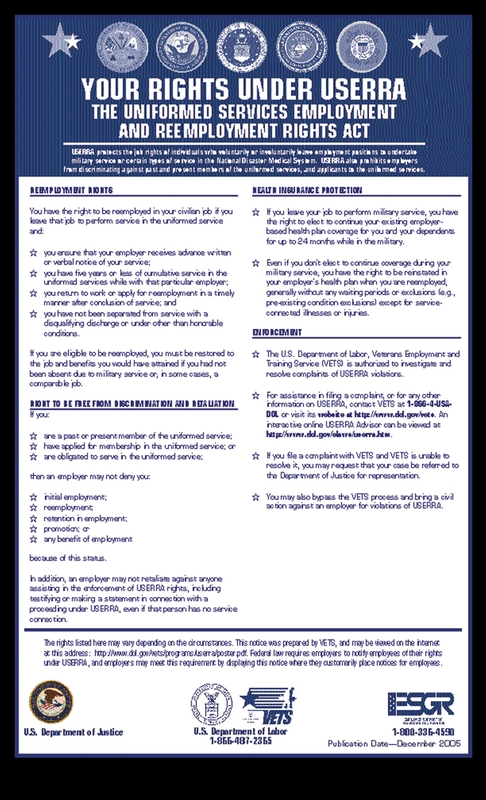 USERRA Poster (Uniformed Services Employment and Reemployment Rights Act)