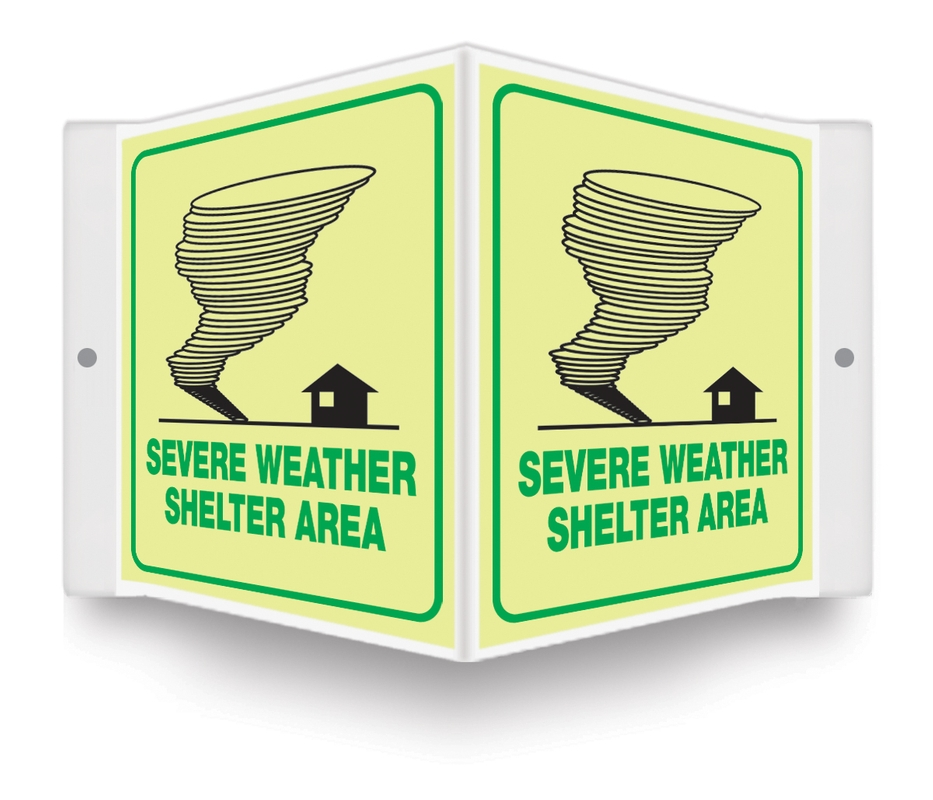 Glow-In-The-Dark Projection™ Safety Sign: Severe Weather Shelter Area (Graphic)
