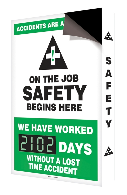 Changeable Magnetic Face Digi-Day® Electronic Scoreboards Starter Set: Accidents Are Avoidable On The Job Safety Begins Here