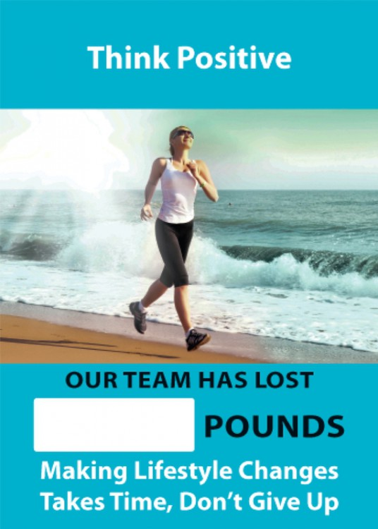 WorkHealthy™ Mini Digi-Day® Magnetic Faces: Think Positive - _ Pounds Lost By Our Team - Makng Lifestyle Changes Takes Time - Don't Give Up