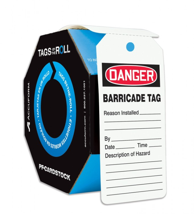 OSHA Danger Tags By-The-Roll: Barricade Tag