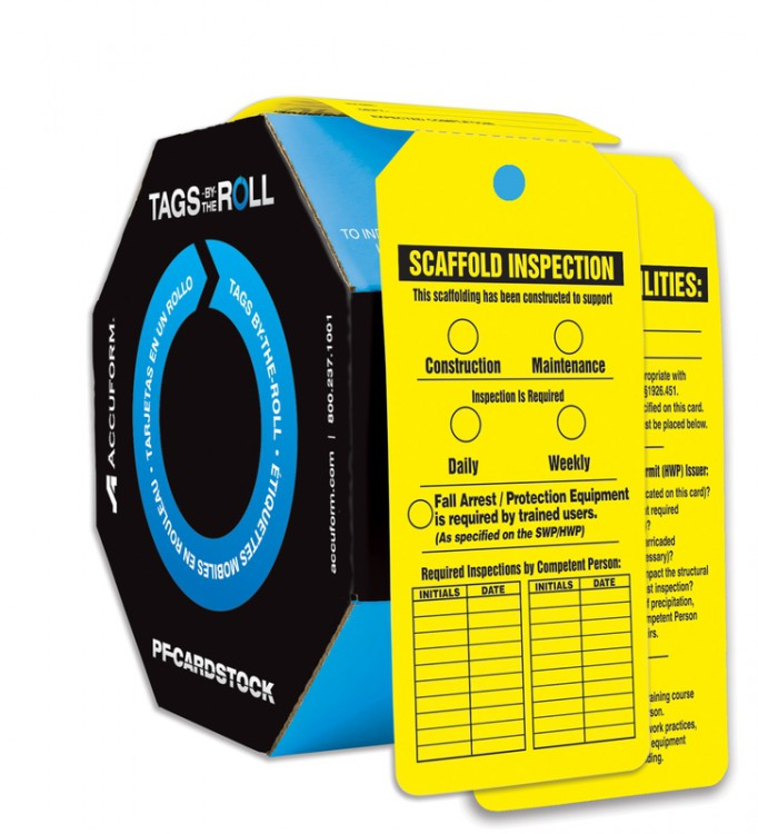 Safety Tags: Tags By-The-Roll- Scaffold Inspection