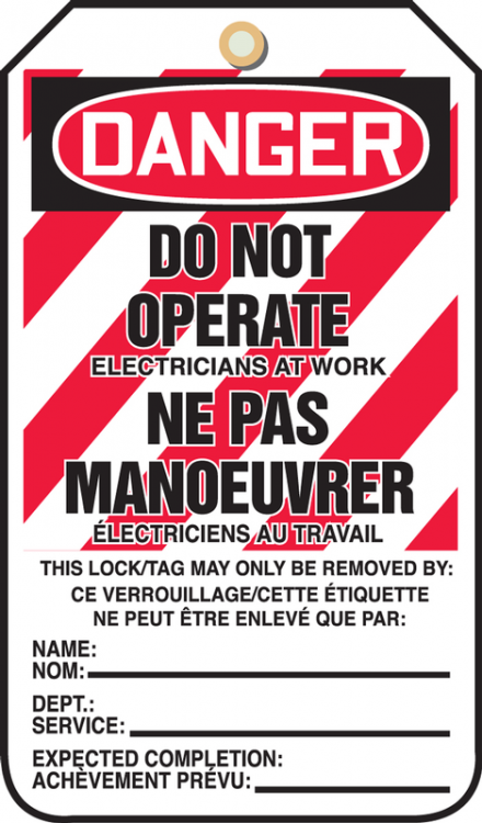 DANGER DO NOT OPERATE ELECTRICIANS AT WORK NE PAS MANOEUVRER ELECTRICIENS AU TRAVAIL ...