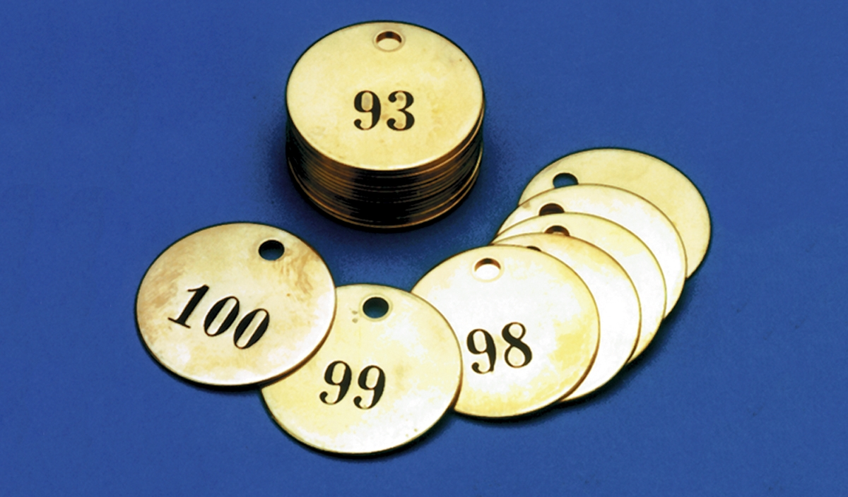 NUMBERED BRASS ID TAGS
