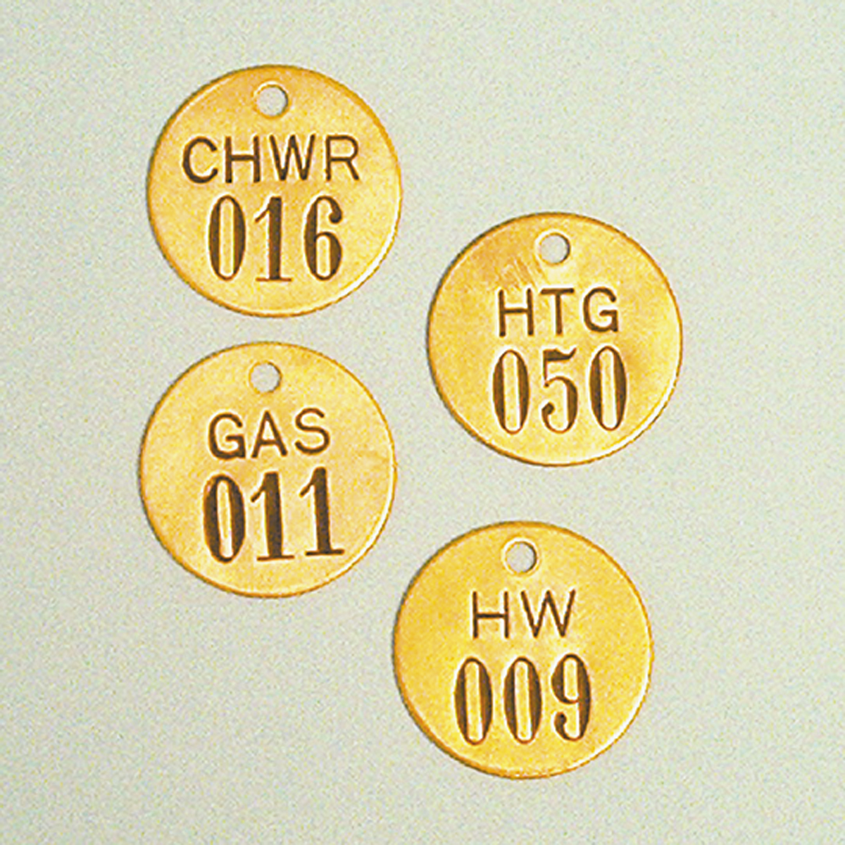 VALVE IDENTIFICATION NUMBERED BRASS TAGS