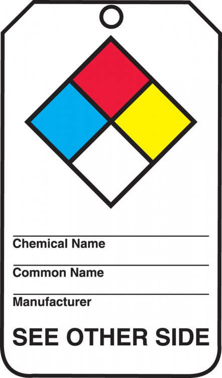 NFPA DIAMOND <br><i>Back - chemical name; route of entry; health hazards; physical hazards; target organs and effects</i>