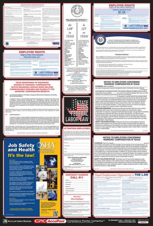 Combo State, Federal & OSHA Labor Law Posters