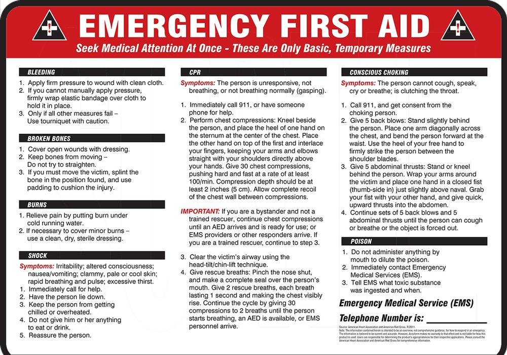 EMERGENCY FIRST AID ... BLEEDING ... BROKEN BONES ... BURNS... SHOCK ... CPR ... CONSCIOUS CHOKING ... POISON ...