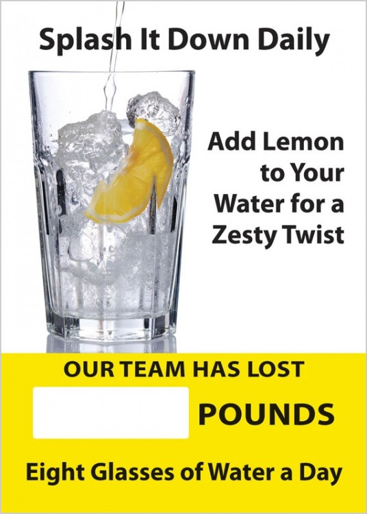 SPLASH IT DOWN DAILY ADD LEMON TO YOUR WATER FOR A ZESTY TWIST OUR TEAM HAS LOST #### POUNDS EIGHT GLASSES OF WATER A DAY