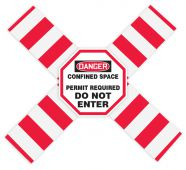 - OSHA Danger Flanged Pipe Barrier Kit: Confined Space - Permit Required - Do Not Enter