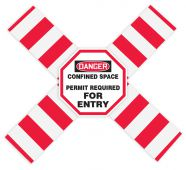 - OSHA Danger Flanged Pipe Barrier Kit: Confined Space - Permit Required - For Entry