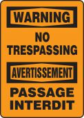 - Bilingual OSHA Warning Safety Sign: No Trespassing