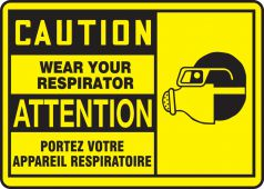 - Bilingual OSHA Caution Safety Sign: Wear Your Respirator