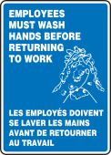 hand wash - French Bilingual Safety Sign: Employees Must Wash Hands Before Returning To Work