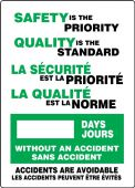 - Bilingual French Write-A-Day Scoreboards: Safety Is the Priority - Quality Is The Standard - _ Days Without An Accident