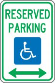 - Federal Parking Sign: Reserved Handicapped Parking (Double Arrow)