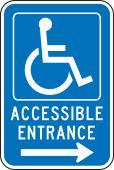 - Federal Parking Sign: Handicap Accessible Entrance (Right Arrow)