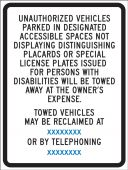 - Semi-Custom Traffic Traffic Sign: Unauthorized Vehicles Parked In Designated Accessible Spaces Not Displaying Distinguishing Placards or Special Lic