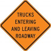 - Roll-Up Construction Sign: Trucks Entering And Leaving Roadway