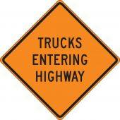 - Roll-Up Construction Sign: Trucks Entering Highway